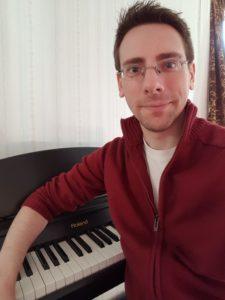 Austin at the piano